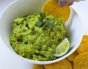 Tangy guacamole and chips
