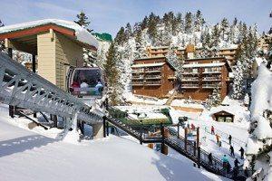 The Ridge Tahoe is a winter wonderland during the snowy season.