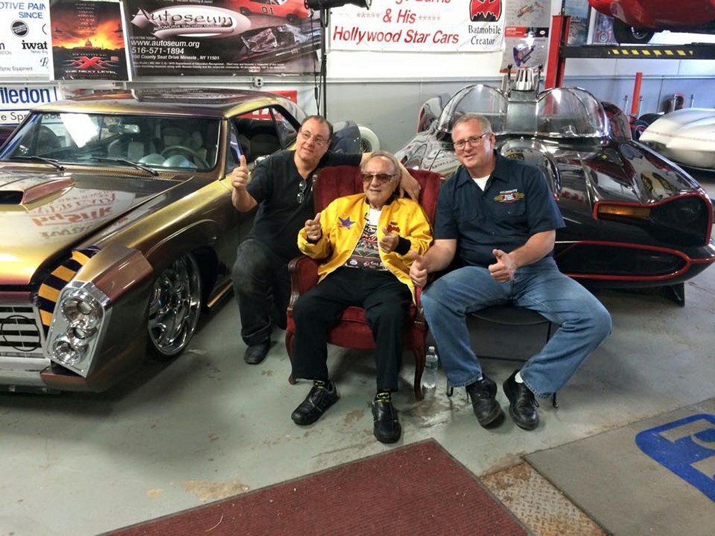Andy Perillo (left) and Mike Manning (right) of Autoseum Automotive Teaching Museum in Mineola with George Barris, circa 2013.