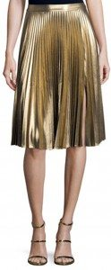 A.L.C.'s Gates Pleated Metallic Skirt in gold is a must have metallic for your wardrobe. (Photo by Neiman Marcus)