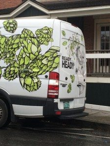 The Heady Topper delivery truck, parked outside of Cork Waterbury.