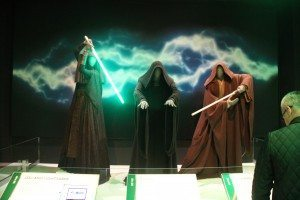 """The """"Jedi and Lightsaber"""" display described how the costume and weapons complemented each other and included interactive buttons that charged up the Jedi and Sith's weapons of choice."""