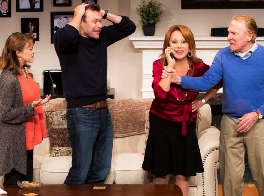 Kate Wetherhead as Jane, George Merrick as Billy, Marlo Thomas as Alice and Greg Mullavey as Bill in Clever Little Lies (Photo by Matthew Murphy)