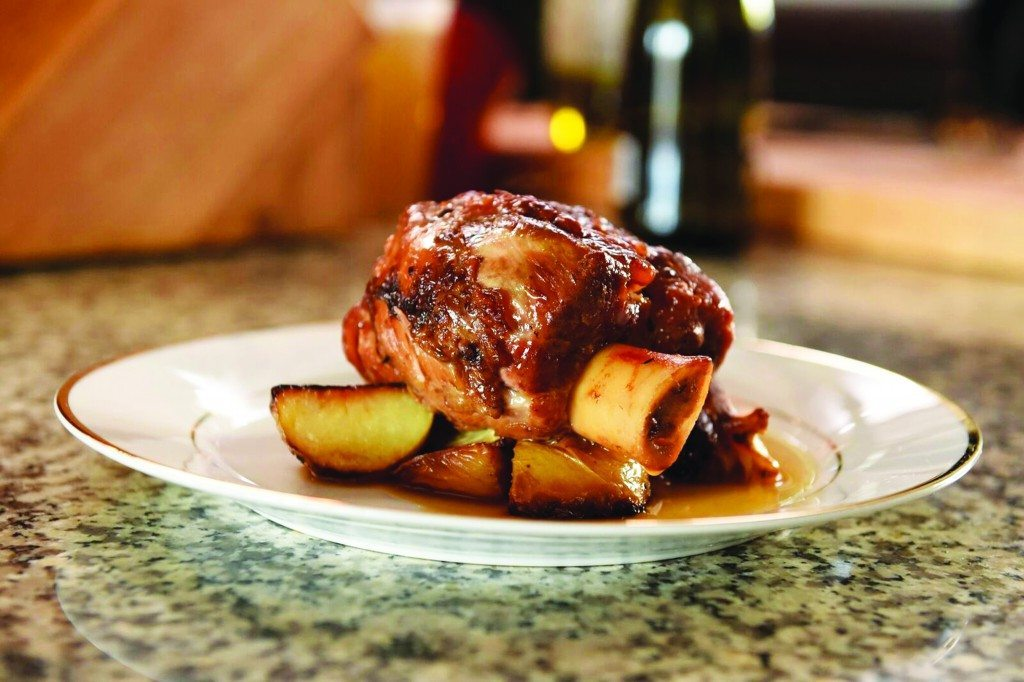 A tender, braised pork shank is a great dinner choice for New Year's Eve