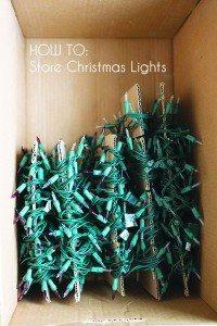 Wrap lights around cardboard to prevent knots.
