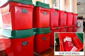 Use color coded plastic bins to store your Christmas ornaments