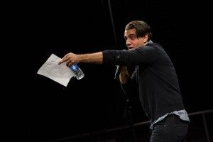 Bobby Cannavale tearing it up during a live Playing on Air benefit reading of Crazy Eights (Photo by David Andrako)