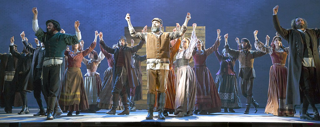 Danny Burstein as Tevye dances with the cast. (Photos by Joan Marcus)