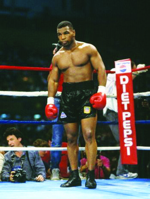A young Tyson in the ring