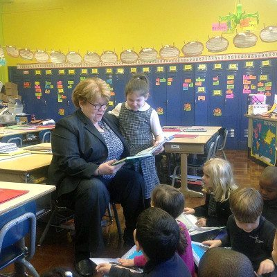 Dr. Walsh visited with students at St. Thomas the Apostle School in West Hempstead.
