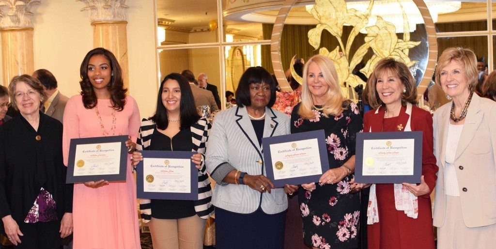From left, League of Women Voters of Nassau County Co-President Nancy Rosenthal, honoree Alisha Laventure, honoree Silvana Diaz, Town of Hempstead 1st District Councilmember Dorothy Goosby, honoree Angela Susan Anton, honoree Shirley Ann Bruno and League of Women Voters of Nassau County Co-President Jane Thomas. (Photo by Frank Rizzo)