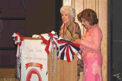 Ethel Bennett, founder, and Marleen Schuss, director, hosting the Ms. New York Senior America Pageant