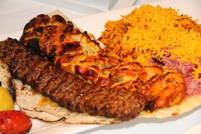 Ground beef and lamb kebab combines with cornish hen and Sufiya's exquisite rice.