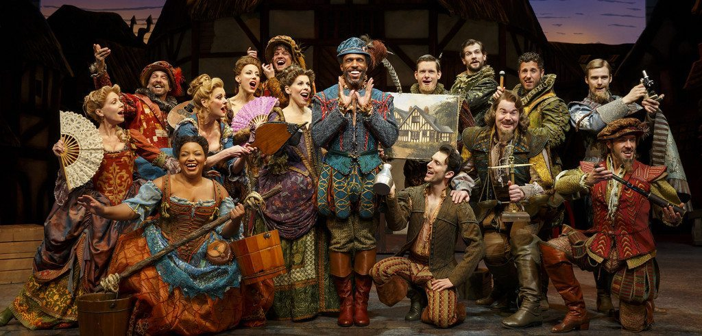 André Ward (center) and the cast of Something Rotten! (Photo by Joan Marcus)