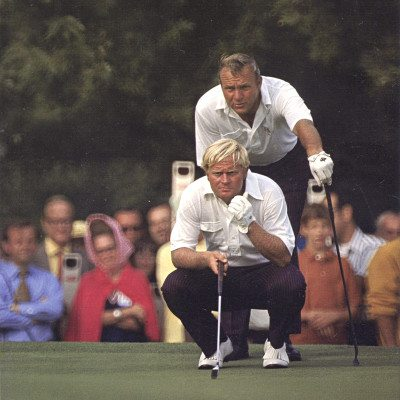 Jack Nicklaus (in front) and Arnold Palmer