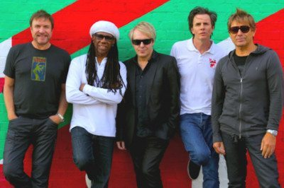 Duran Duran and Chic on tour in 2016. From left: Simon LeBon, Nile Rodgers, Nick Rhodes, John Taylor, Roger Taylor