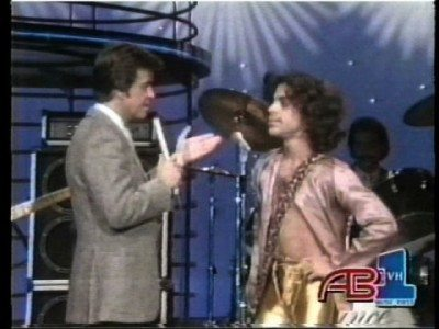 Prince being interviewed by American Bandstand's DIck Clark on Jan. 26, 1980, the artist's second official television appearance