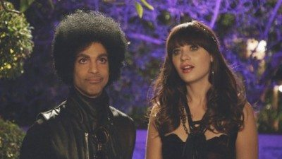 Prince along with Zooey Deschanel appearing on a 2014 episode of New Girl