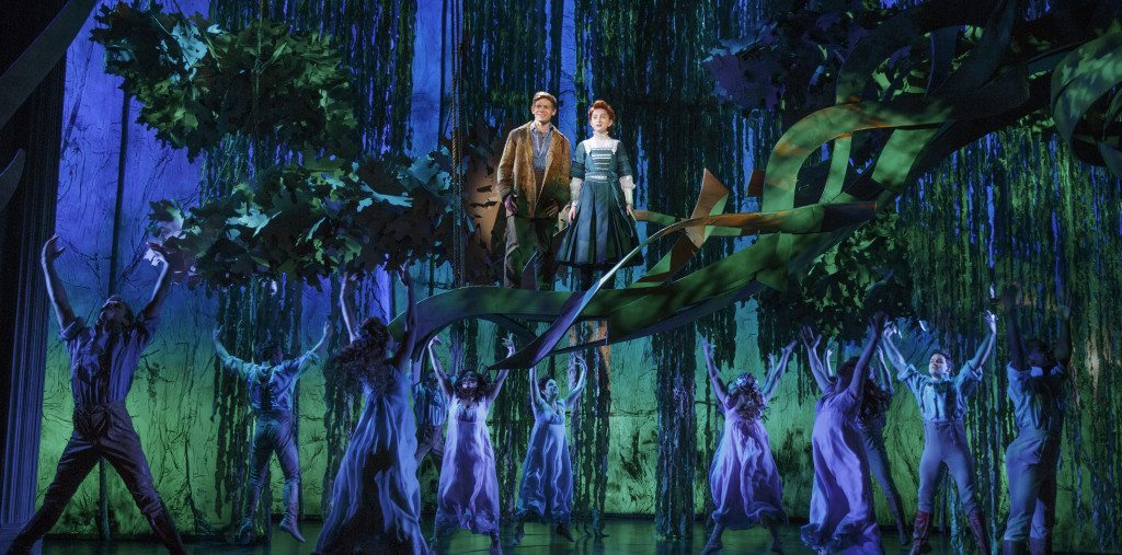Andrew Keenan-Bolger as Jesse Tuck and Sarah Charles Lewis as Winnie Foster in TUCK EVERLASTING on Broadway. Photo by Joan Marcus