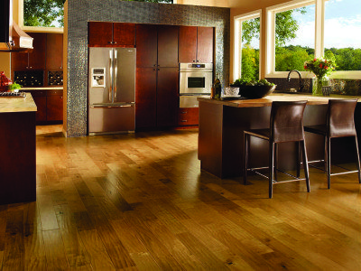 This Armstrong Hardwood Birch floor features 5-inch wide plank engineered hardwood in Golden Blonde.