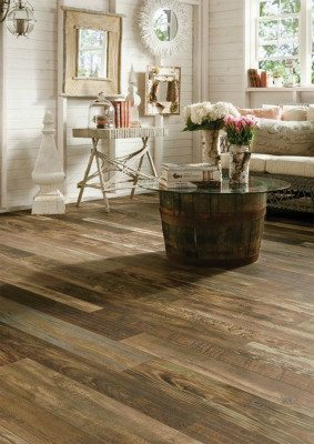 Armstrong's Woodland Reclaim laminate flooring collection mimics the look of real reclaimed wood.