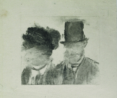 May 2016 museum exhibits Edgar Degas Heads of a Man and a Woman. 1877-80. Monotype on paper, plate. British Museum, London. Bequeathed by Campbell Dodgson. (Courtesy of The Museum of Modern Art's website)