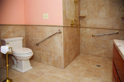 Grab bars in bathrooms reduce the risk of falling.