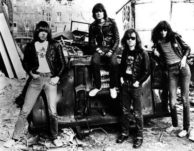 The Ramones standing in an alley outside of CBGBs (Photo by Danny Fields)