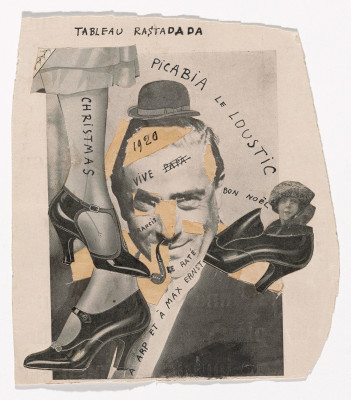 """Francis Picabia. Tableau Rastadada. 1920. Cut-and- pasted printed paper on paper with ink, 7 1⁄2 x 6 3⁄4"""" (19 x 17.1 cm). Gift of Abby Aldrich Rockefeller (by exchange), 2014. © 2016 Artists Rights Society (ARS), New York/ADAGP, Paris"""