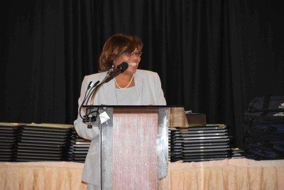 NCCSS President and Plainview-Old Bethpage Central School District Superintendent Dr. Lorna Lewis delivered opening remarks at the NCCSS annual Celebrating Excellence Breakfast.