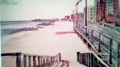 A watercolor painting of Long Beach boardwalk by Nelly Romero