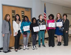Forty Nassau BOCES Barry Tech students earned the 2015 Vanguard Award for seeking nontraditional careers. Among them, holding certificates, are audio production students (left to right) Brittnee Chappelle, Kisha Prophete, Zoe Gutterman, Natilee Stevenson and Venus Yetim. On hand to congratulate them are (left to right) Barry Tech Interim Principal Laurie Harris, Nassau BOCES District Clerk Deborah Coates and Board Trustee Fran Langsner.