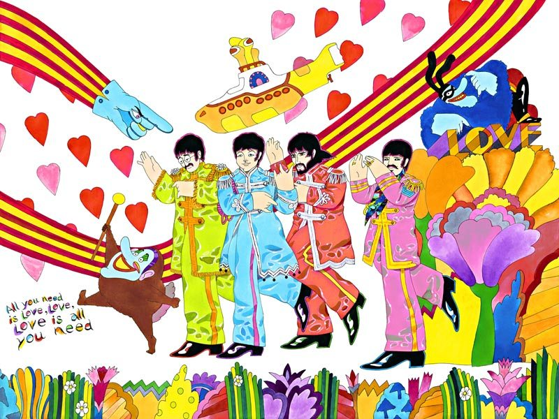 This work is titled All You Need Is Love, inspired by the song and including elements of Yellow Submarine.