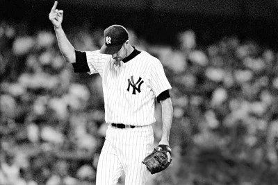 """Left: """"Black"""" Jack McDowell salutes the Stadium crowd in July 1995."""