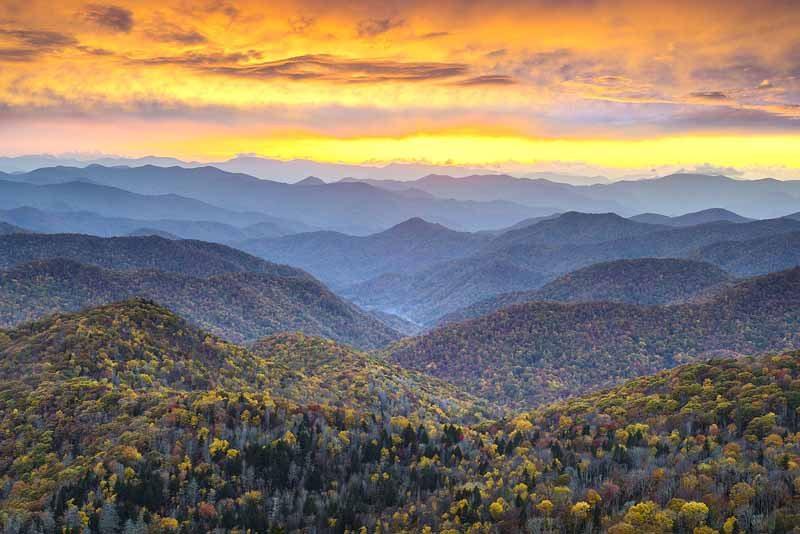 The scenic Blue Ridge Mountains