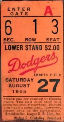1955-dodgers-ticket World Series and New York City