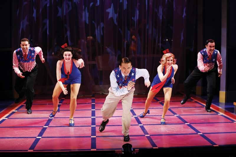 """Robert Creighton (center) and the cast of Cagney tap their way through """"Yankee Doodle Dandy."""""""