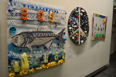 Students' works on display as part of North Hempstead's annual recycled artwork contest.