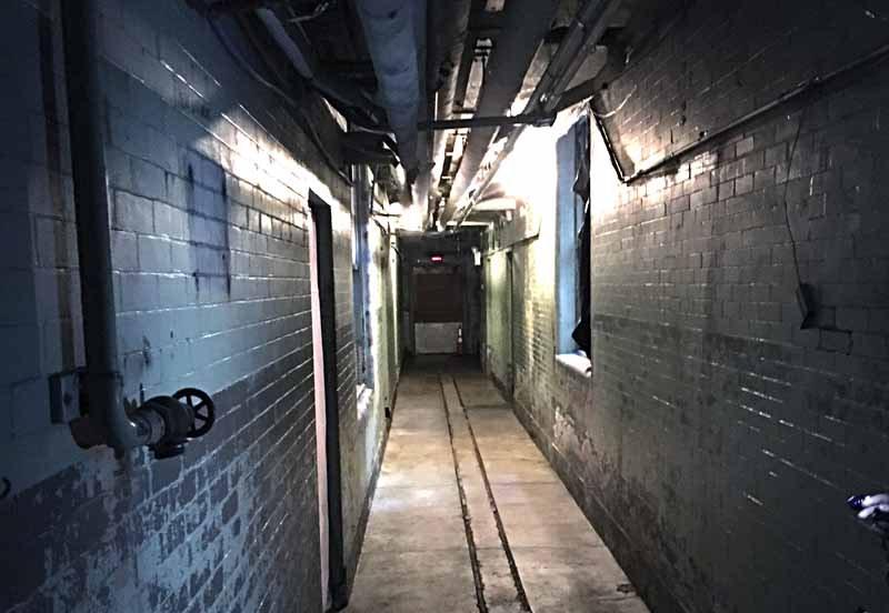 Creepy basement hallway of Hempstead House