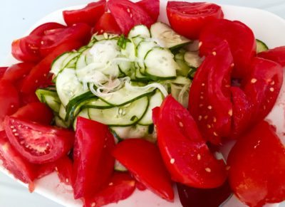 A fresh tomato salad Bert Spitz ate at the annual Cutchogue Fire Department BBQ and subsequently blogged about.