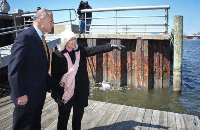 North Hempstead Supervisor Judi Bosworth and U.S. Senator Charles E. Schumer at North Hempstead's Town Dock