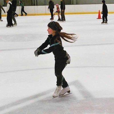 Sophia ice skates at Iceland in New Hyde Park. Ice Skating on Long Island