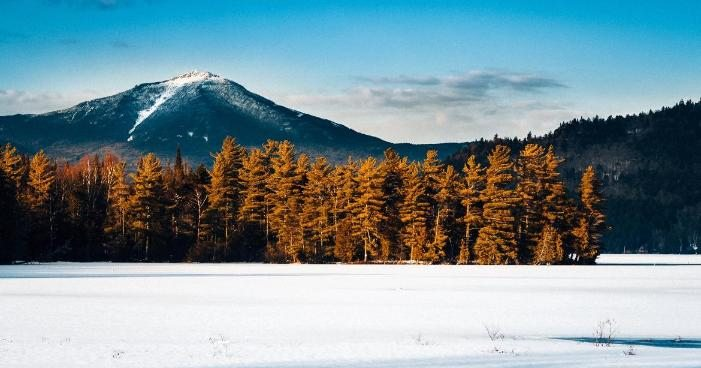 Whiteface Mountain peak viewed from the frozen Paradox Bay