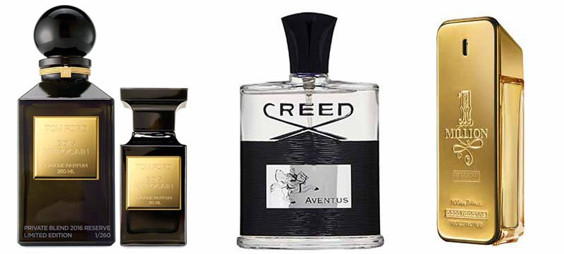 Men's fragrances include these masculine scents: Paco Rabanne One Million, Creed, Tom Ford