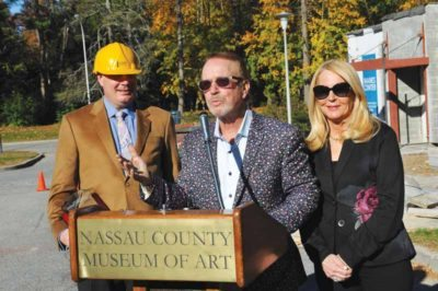 Dr. Harvey Manes thanks the museum and its supporters, pictured with Karl Willers (left) and Angela Anton. (Photos by Tab Hauser)