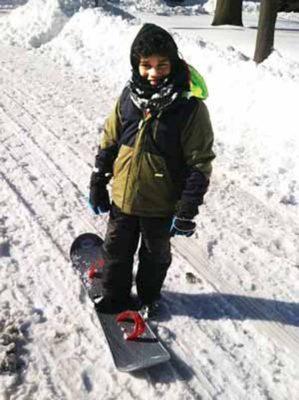 Hiram Cowhey of Farmingdale sleds at Bethpage State Park sledding Long Island