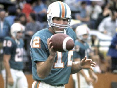 Quarterback Bob Griese (12) of the Miami Dolphins sets for play in 1972 in Miami. (AP Photo / Al Messerschmidt)
