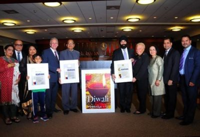 From left: Beena Kothari, President IALI; Jasbir Singh, Committee Person; Niketa Bhatia & Son, Honoree; County Executive Mangano; Jagdish K. Gupta, MD, Honoree; Herman Singh, Honoree; Rose Marie Walker, Legislator; Indu Jaiswal, Chairperson, IAF; Zahid Syed, Chairman, Commission on Human Rights; and Sharanjit Singh Thind, Commissioner of Human Rights.
