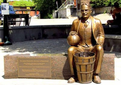 The James Naismith memorial sculpture in Lawrence, KS.