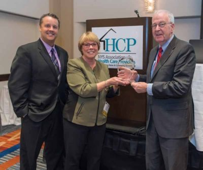 Long lsland HSP Chapter President Rick Schaefer, HSP President Claudia Hammar and Senator Kemp Hannon